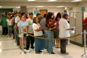 Unemployed wait for money in California