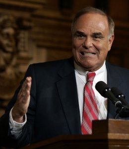 Gov. Ed Rendell grits his teeth and pounds the podium as he responds to a question about gun control during a news conference Friday, Nov. 16, 2007, in Harrisburg Pa. Rendell, hoping to inject fresh drama into the stalled debate over gun control in Pennsylvania, plans to personally address a House committee considering several bills he says are crucial to reducing gun violence. (AP Photo/Carolyn Kaster)